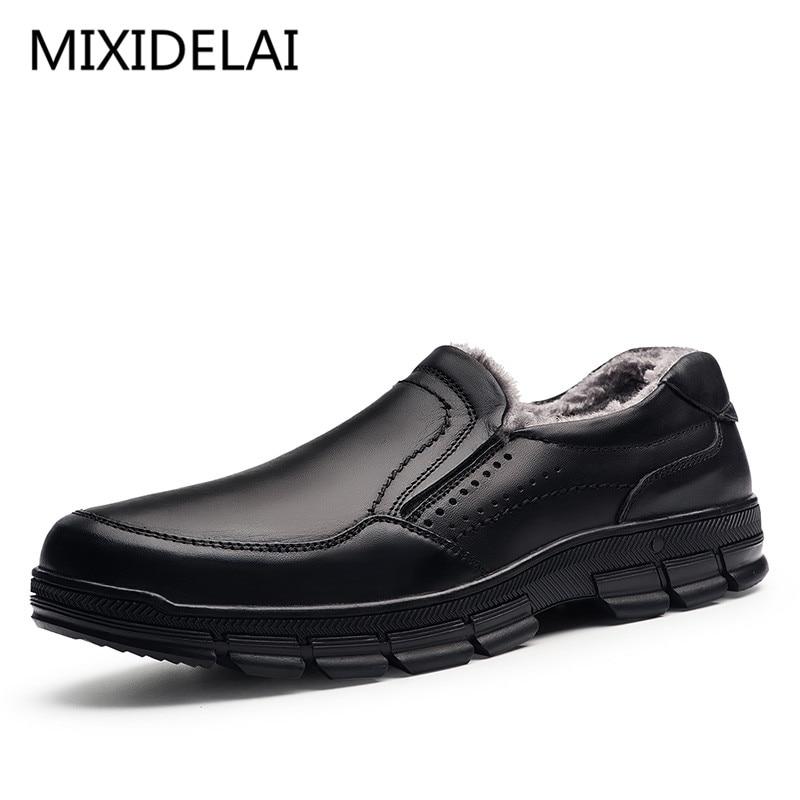 MIXIDELAI Echtem Leder warme männer stiefel große größe 47 mode winter stiefel, komfortable stiefeletten männer schuhe, qualität schnee stiefel