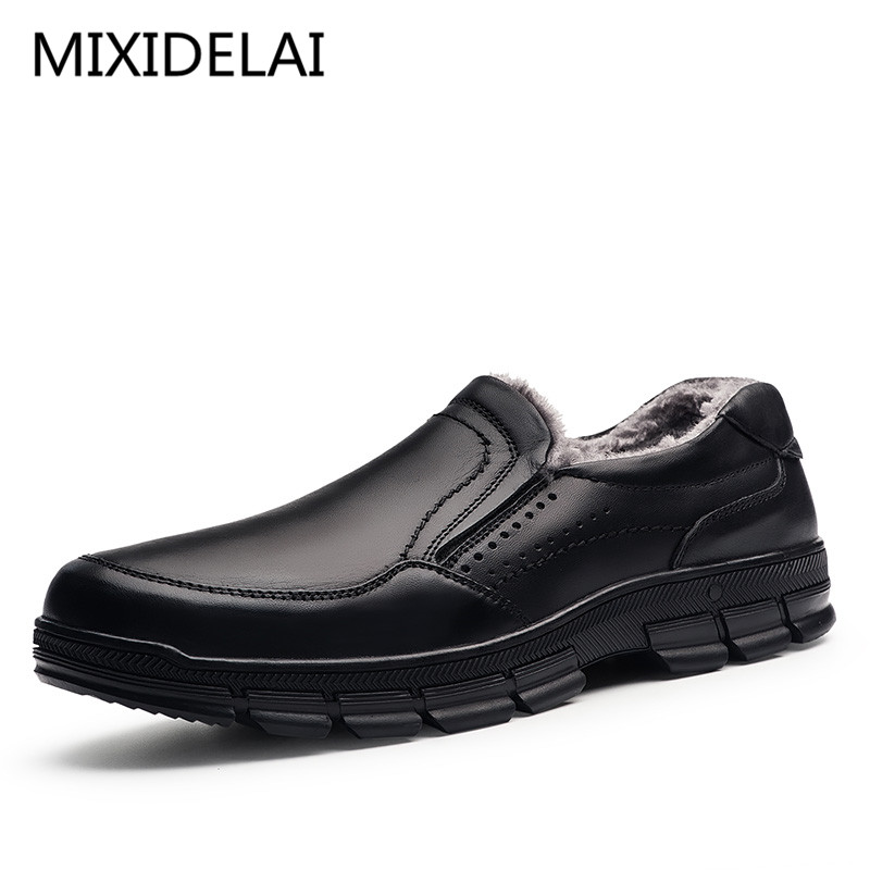MIXIDELAI Genuine Leather warm men boots large size 47 fashion winter boots,comfortable ankle boots men shoes,quality snow boots elevator shoes taller 2 56 inch winter genuine leather men boots fashion warm wool ankle boots men snow boots shoes hot sale