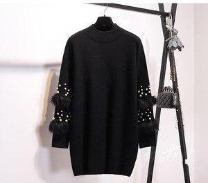 Image 4 - חדש פו פרווה קשט שרוול סוודר ארוך שרוול מגשרי עם פניני גולף למשוך מקרית סוודרי ג רזי Mujer Invierno