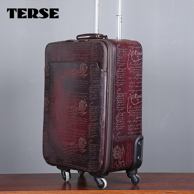 TERSE_Luxury Leather Luggage For Business Man Handmade Italian Calfskin Genuine Leather Luggage Bag 2 Colors Case Custom LN020