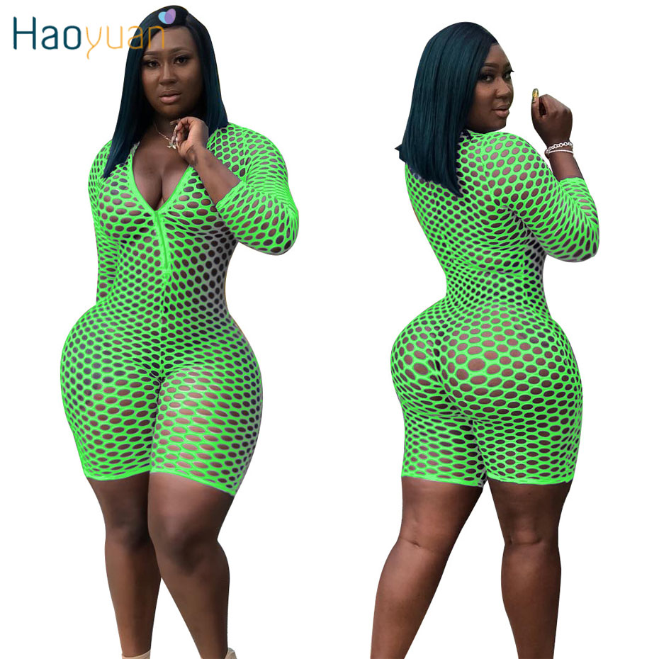 HAOYUAN Fishnet Sexy Playsuit Women Rave Clothes Summer Overalls Sheer Mesh Romper Neon Green Casual Bodycon Shorts   Jumpsuits