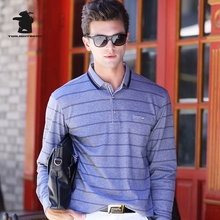 2016 New men's Long Sleeve Polo Shirts Autumn Fashion Striped High Quality Plus Size Business Casual Polo Shirts For Men CB17D81