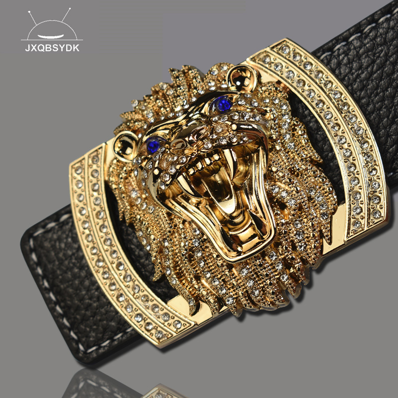 JXQBSYDK Luxury Brand   Belts   for Men Women Fashion Shiny Diamond Lion Head Buckle High Quality Waist Shaper Leather   Belts   2019