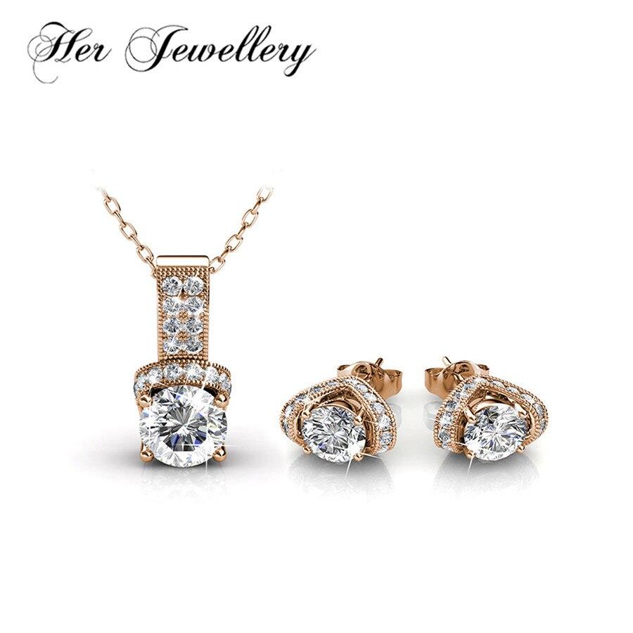Son ensemble de bijoux Vintage bijoux pour femmes boucles d'oreilles et pendentif collier fait avec des cristaux de Swarovski HS036