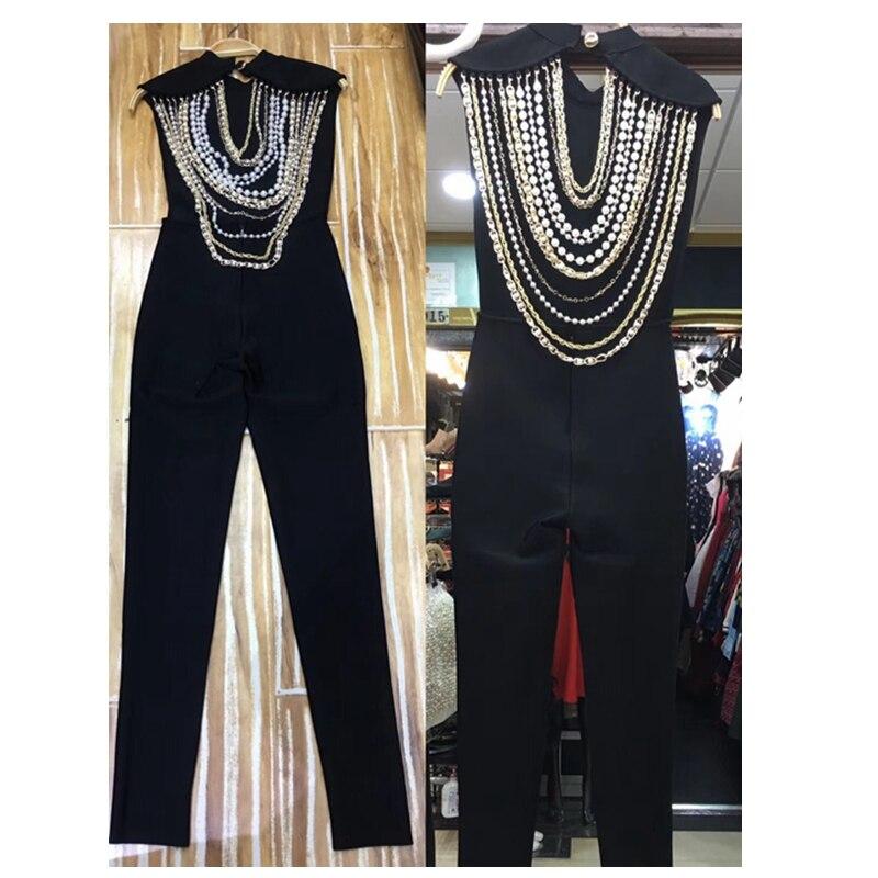 2019 Moulante Élégant Perles Noir Nouveau Combinaisons Manches Nu Mode De Sans Fête Longue Celebrity Dos Sexy Combinaison Arrivent Bandage S40qwf