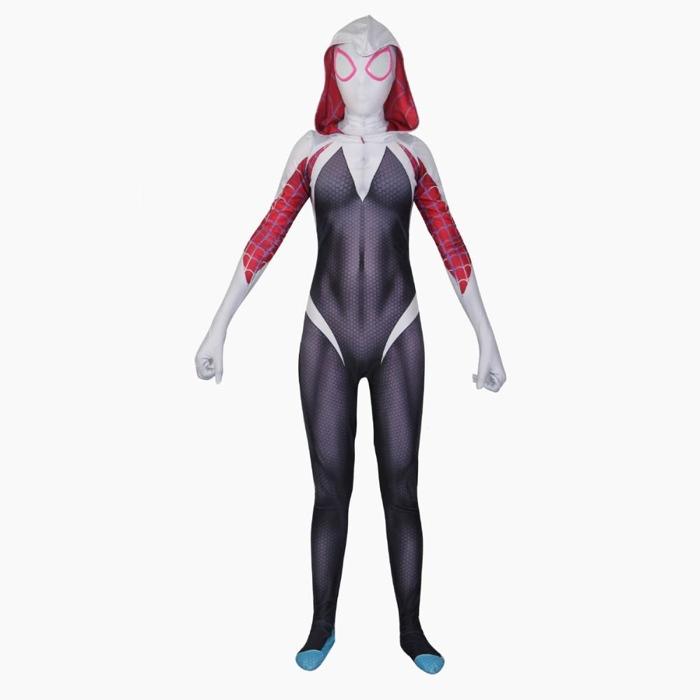 3D Print Spider Gwen Stacy Spandex Lycra Zentai Spiderman Costume for Halloween Cosplay Female Girl Spider