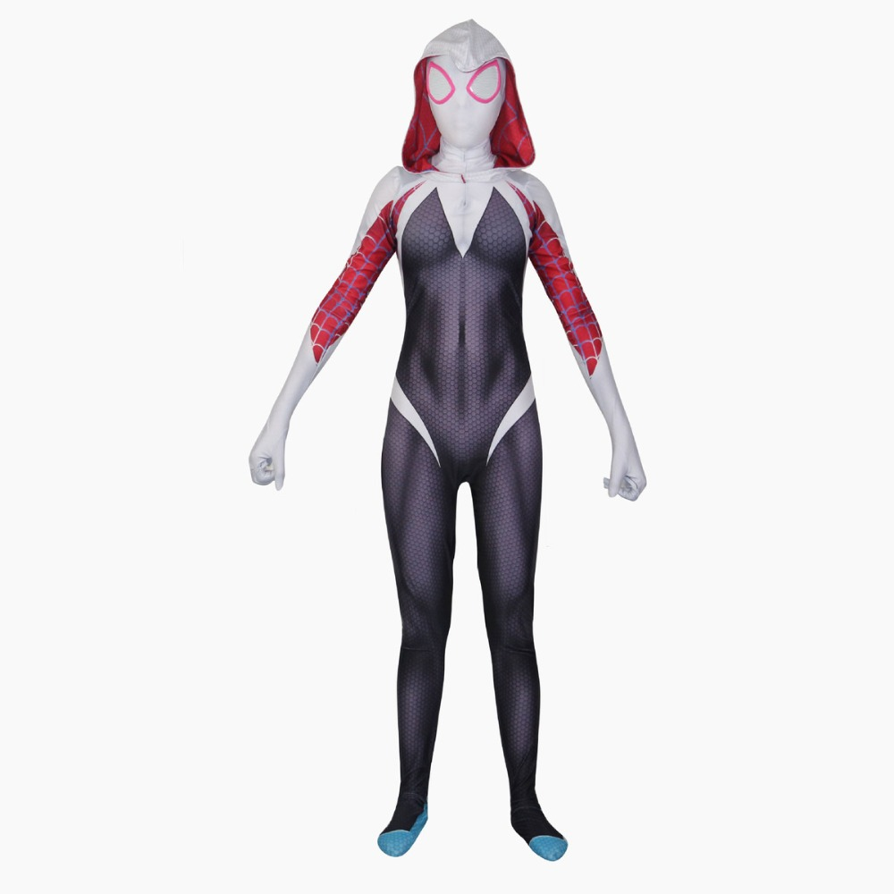 3D Print Spider Gwen Stacy Spandex Lycra Zentai Spiderman Costume for Halloween Cosplay Female Girl Spider Suit Anti-Venom Gwen