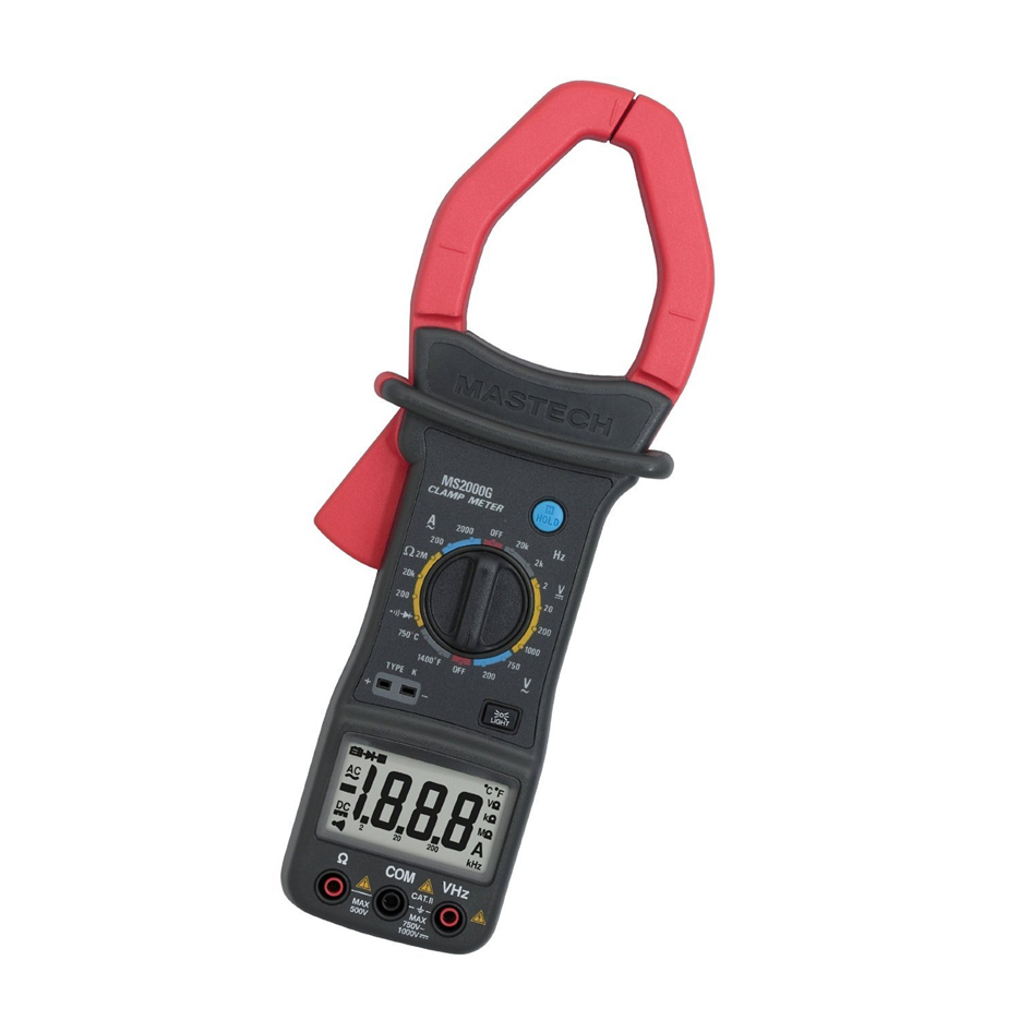Hot MASTECH MS2000G Digital Clamp Meter Current AC DC Voltage Resistance Temperature Tester Multimeter Multimetro mastech ms2001c digital clamp meter multimeter ac dc voltage current diode resistance measurement