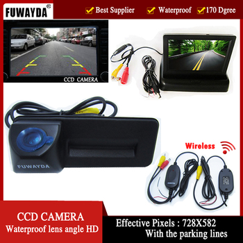 Wireless car trunk handle reverse parking rearview camera with monitor for Skoda Roomster Fabia Octavia Yeti superb for Audi A1