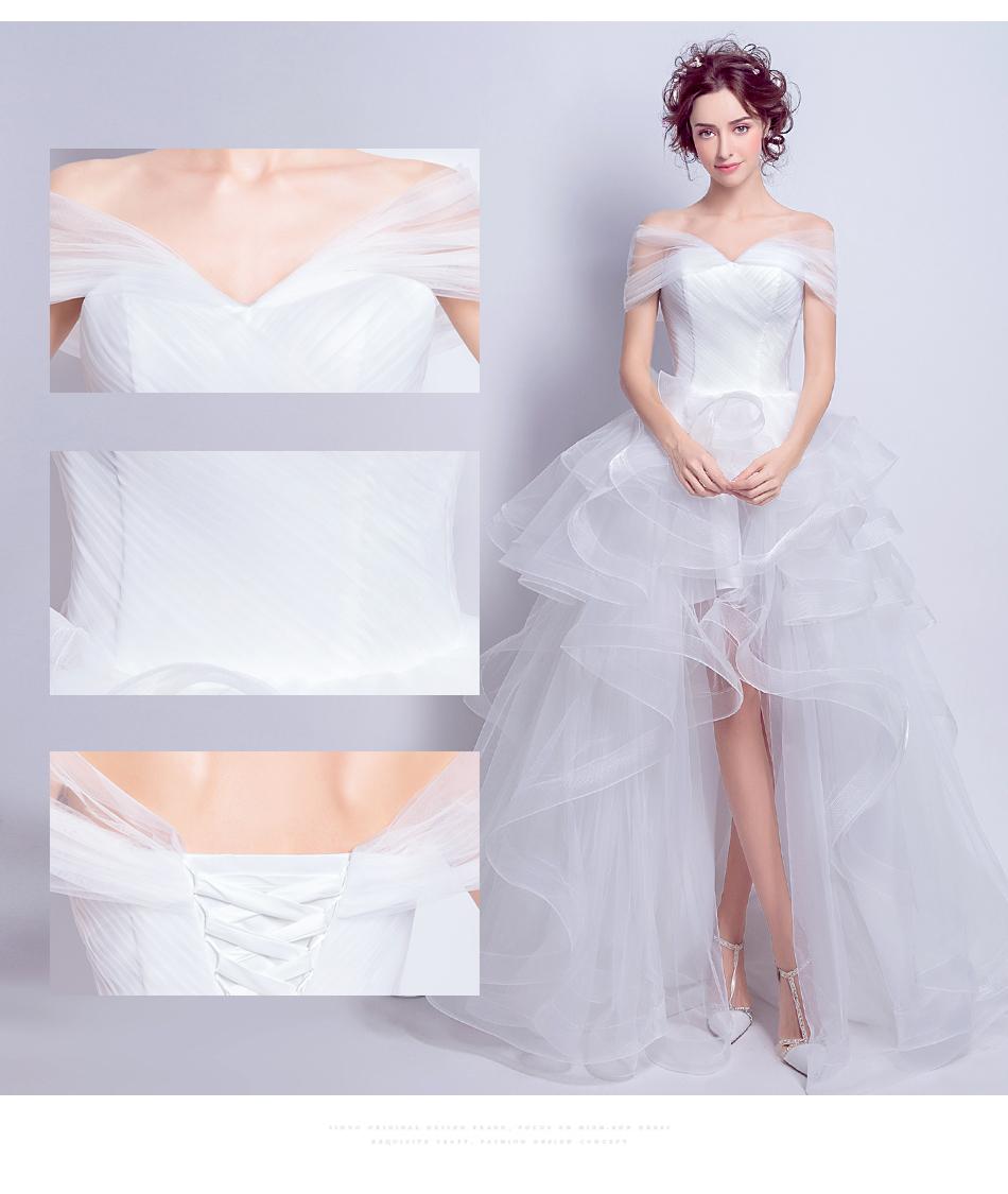 Angel Wedding Dress Marriage Evening Bride Party Prom Bridal Gown Vestido De Noiva 2017 Boat Neck asymmetrical7207 6