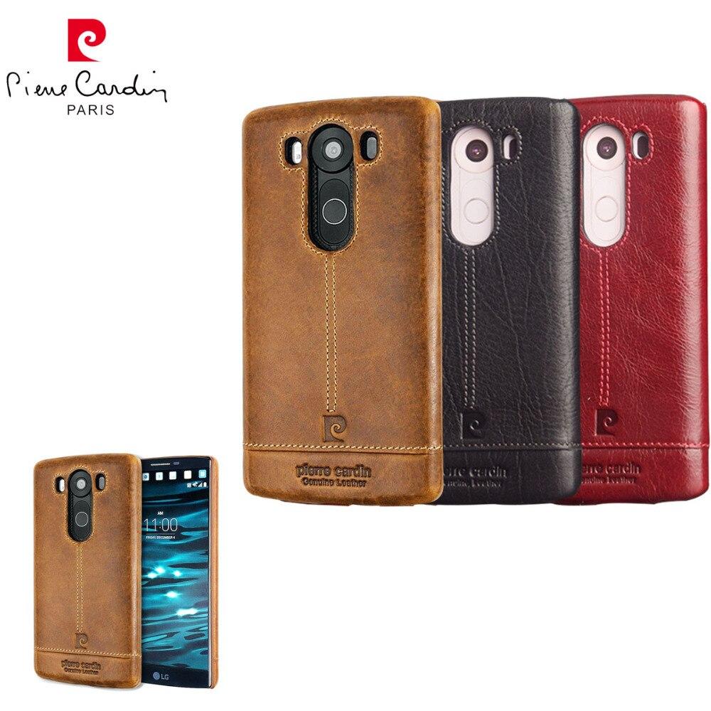 Цена за Пьер Карден Роскошные Задняя крышка Для LG V10 V20 Натуральная Кожа Сотовый телефон Случаях Ультра Тонкий Трудный Случай Крышки Горячей Продажи Для LG V20