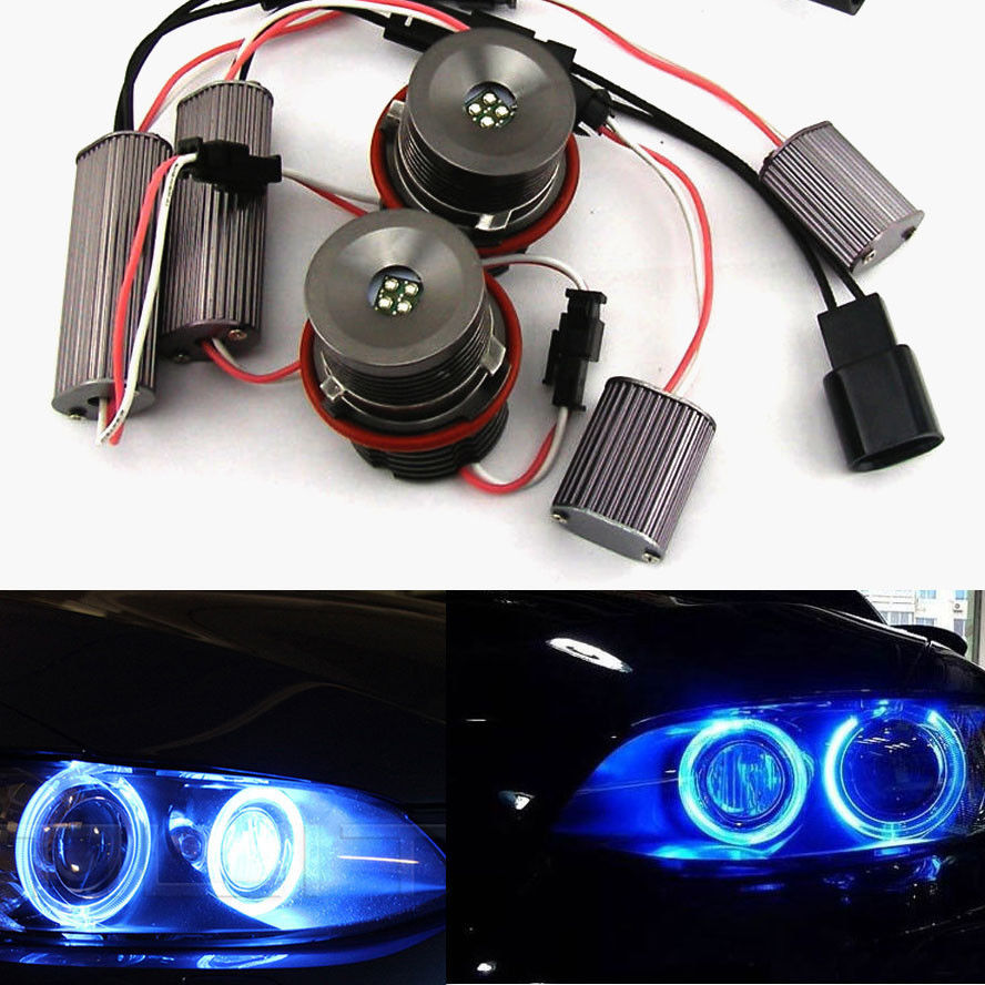 BBQ@FUKA 2x 20W LED Blue Angel Eye Halo Ring Light Lamp Bulbs Fit  For BMW E60 E63 E53 X5