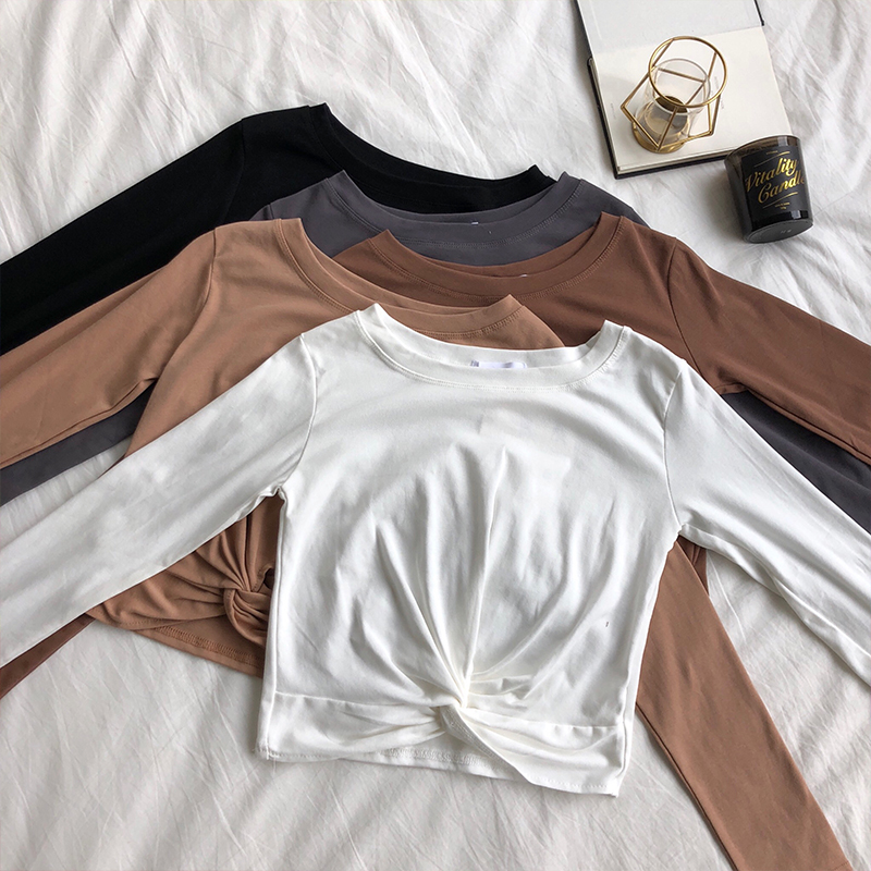 Short Crossed Tshirt Women's Stretchy Twisted T-shirt Crop Tops Girl Full Sleeve Cropped T-Shirts Tees For Female DX737