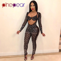 PinePear Women Open Front Sexy Club Glitter Diamond Jumpsuit Long Sleeve Bodycon See Through Party Romper Clubwear Drop Shipping