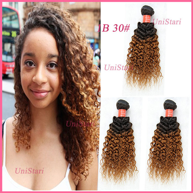 Brazilian Kinky Curly Hair Perfect Two Tone Color Ombre Hair