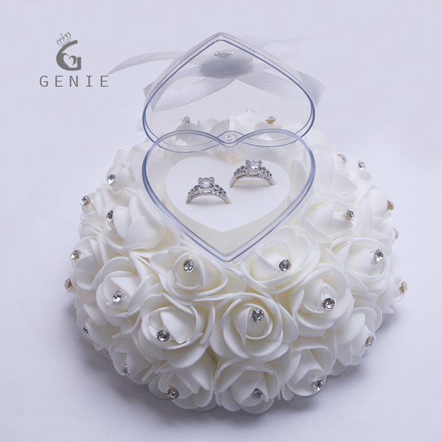 Genie Cake Shape Rose Flowers Ring Box Romantic Wedding Jewelry Case