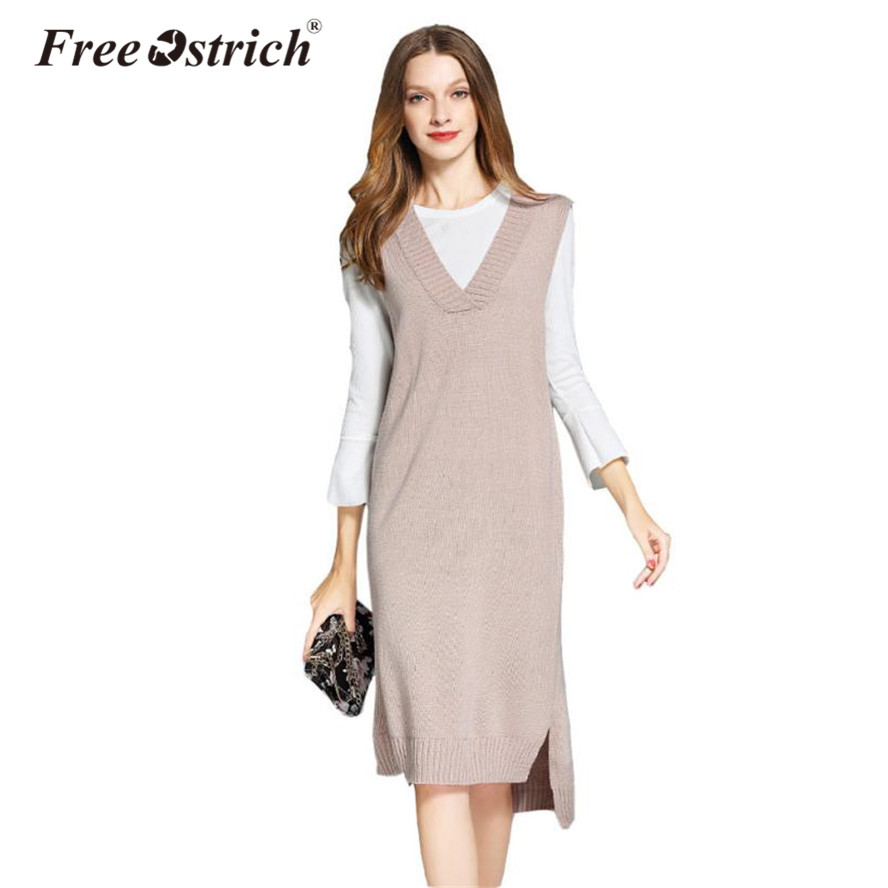 Free Ostrich Sweater Dresses Women 2018 Winter Vest Sleeveless Deep V Neck Knitted Sweater Party Dresses S25 clwr feather reversible insulated vest women s