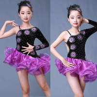 Children girl kids Ballroom Latin Dance Dresses Ice Silk&Lace Purple Vestido Baile Latino Latin Girl Dancewear Dress Costume