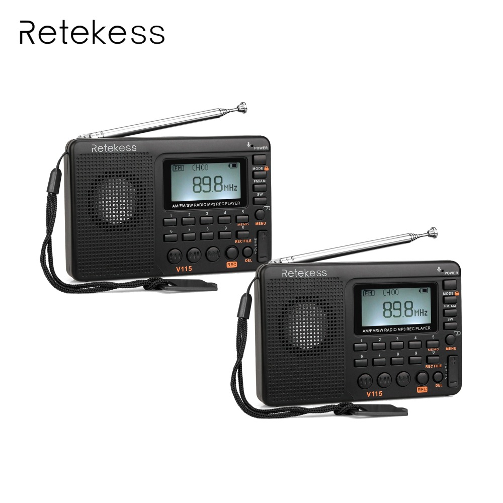 2pcs Retekess V115 Radio FM/AM/SW World Band Receiver MP3 Player REC Recorder With Sleep Timer FM Radio Recorder F9205A