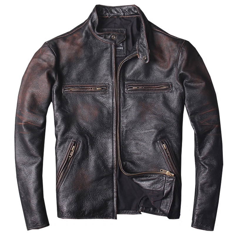 Jacket Coat Biker's Russian Vintage Genuine-Cowhide-Spring Plus-Size 6XL Short Slim Men