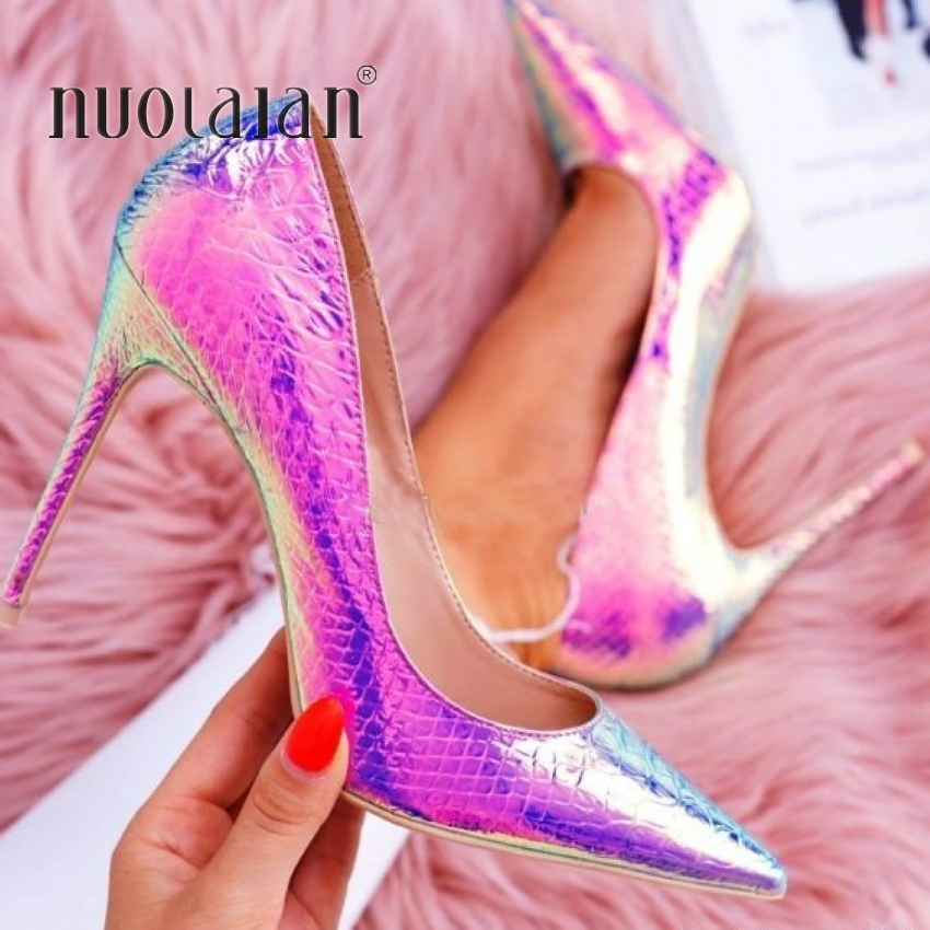 Fashion shoes woman snake printing silver gold party wedding shoes big size 35 42 sexy pointed toe high heels pumps women shoes
