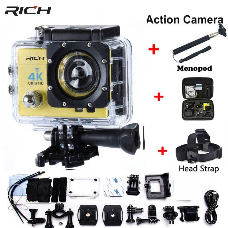 Action Cam caméscope HD 1080 P 2.0 pouces WIFI 170 degrés lentille 30 M étanche Sport caméra sangle supplémentaire + monopode + sac photo