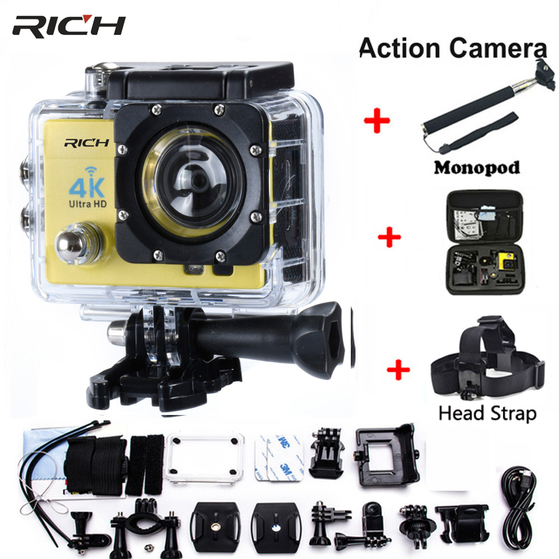 Action Cam Camcorder HD 1080P 2.0 inch WIFI 170 degree Lens 30M waterproof Sport Camera Extra Head strap +Monopod+camera bag