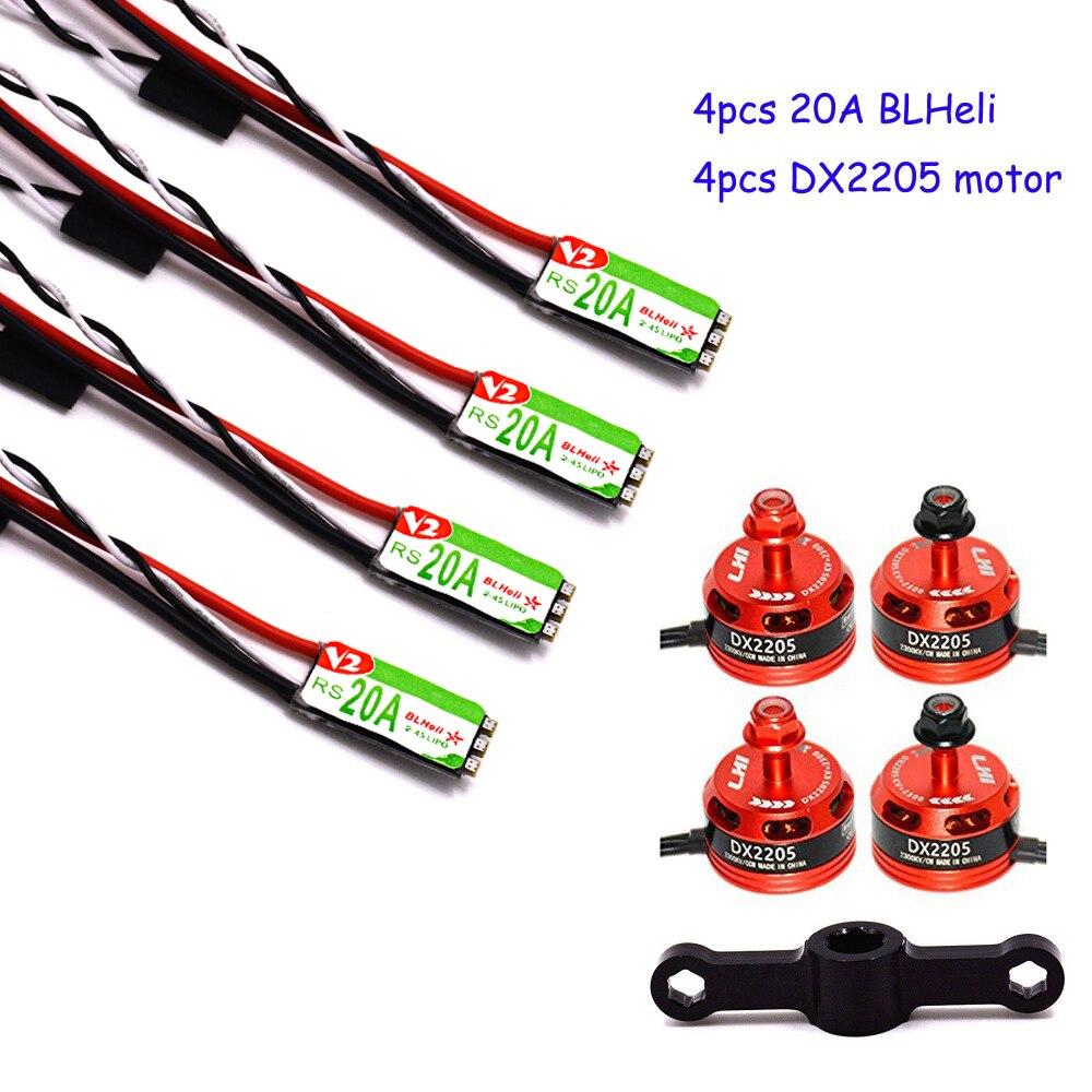 4 pcs DX2205 2300KV Brushless Motor & 4 pcs Racerstar RS20A Lite 20A Blheli-S BB1 2-4 S Brushless ESC pour FPV Racing Quadcopter