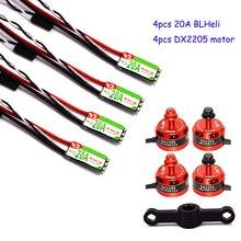 4pcs DX2205 2300KV Brushless Motor 4 pcs Racerstar RS20A Lite 20A Blheli S BB1 2 4S