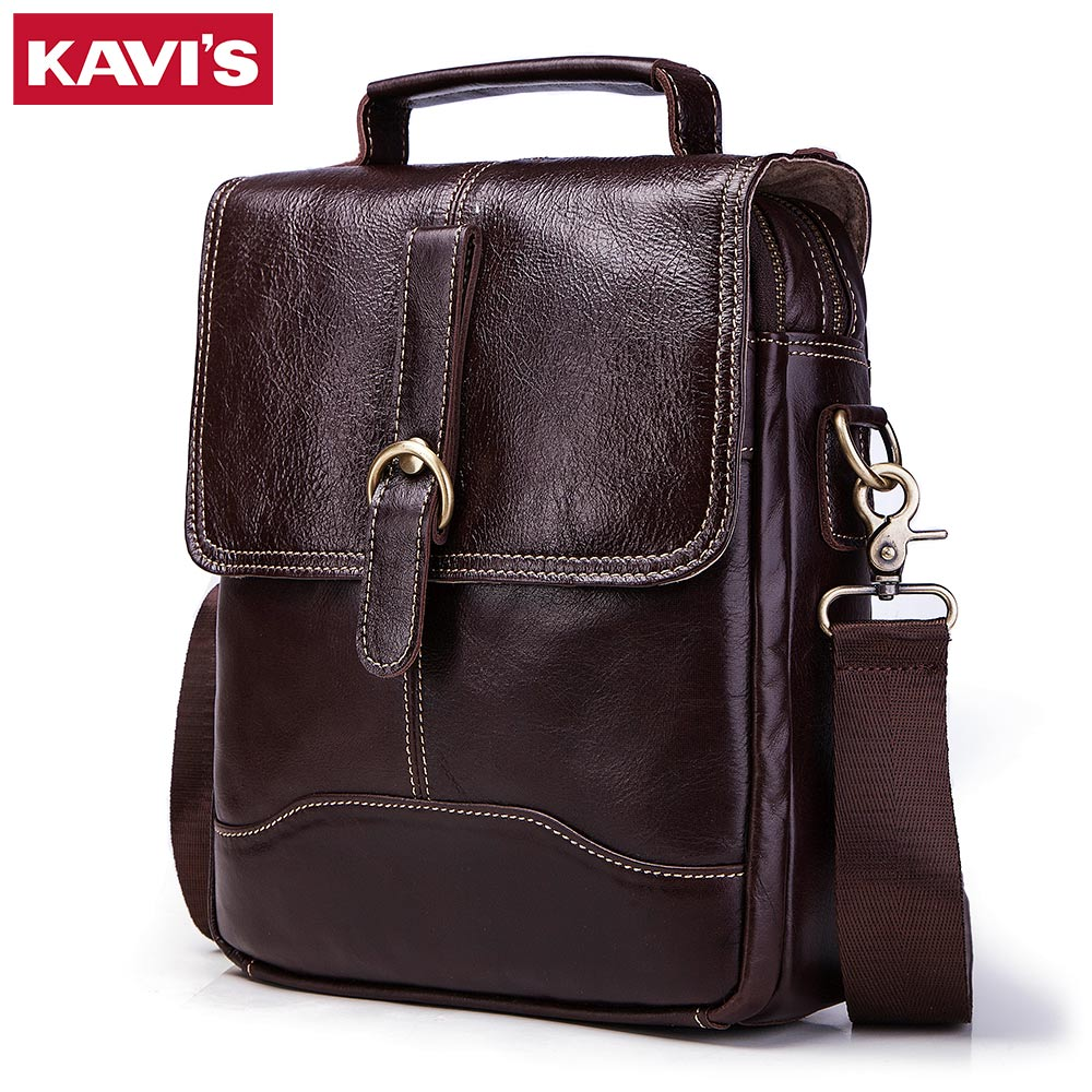 KAVIS Brand Men Fashion Genuine Leather Crossbody Bag Top Quality Men's Shoulder Bag Business Cow Messenger Bag Casual Man Bags