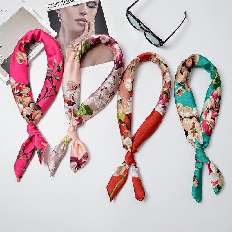 2019 70 Cm X 70 Cm Fashionable Small Scarf Lady Satin Silk Scarf Flower Scarf