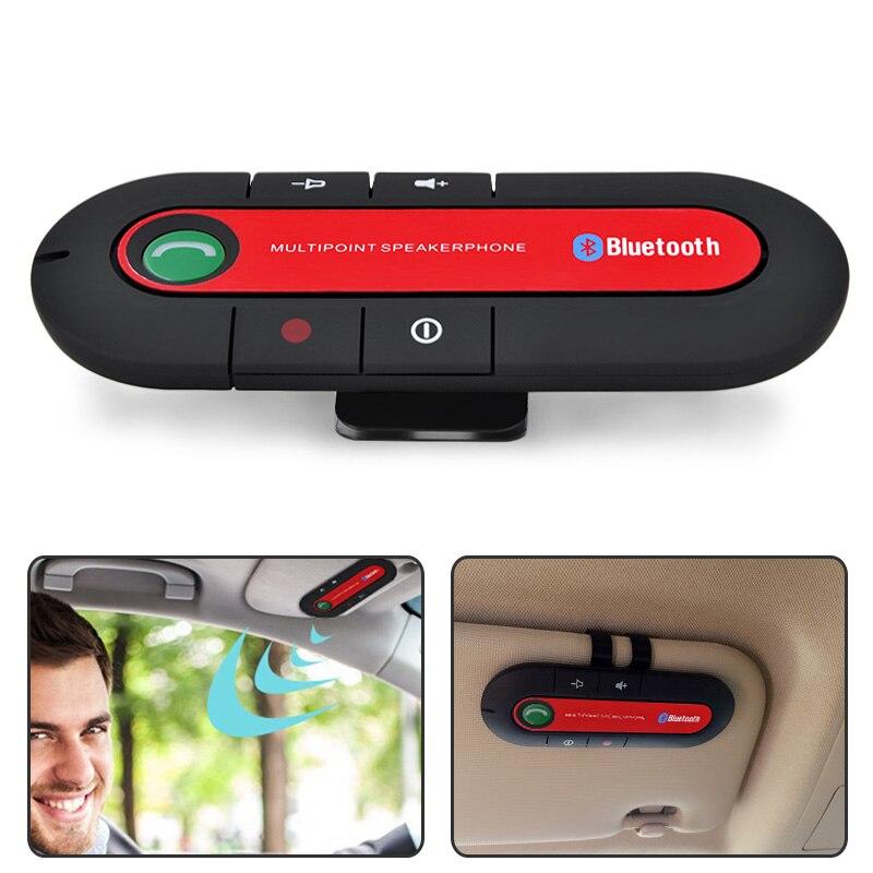 Bluetooth handsfree carro kit sem fio bluetooth alto-falante telefone mp3 leitor de música sun visor clipe speakerphone para moble telefone