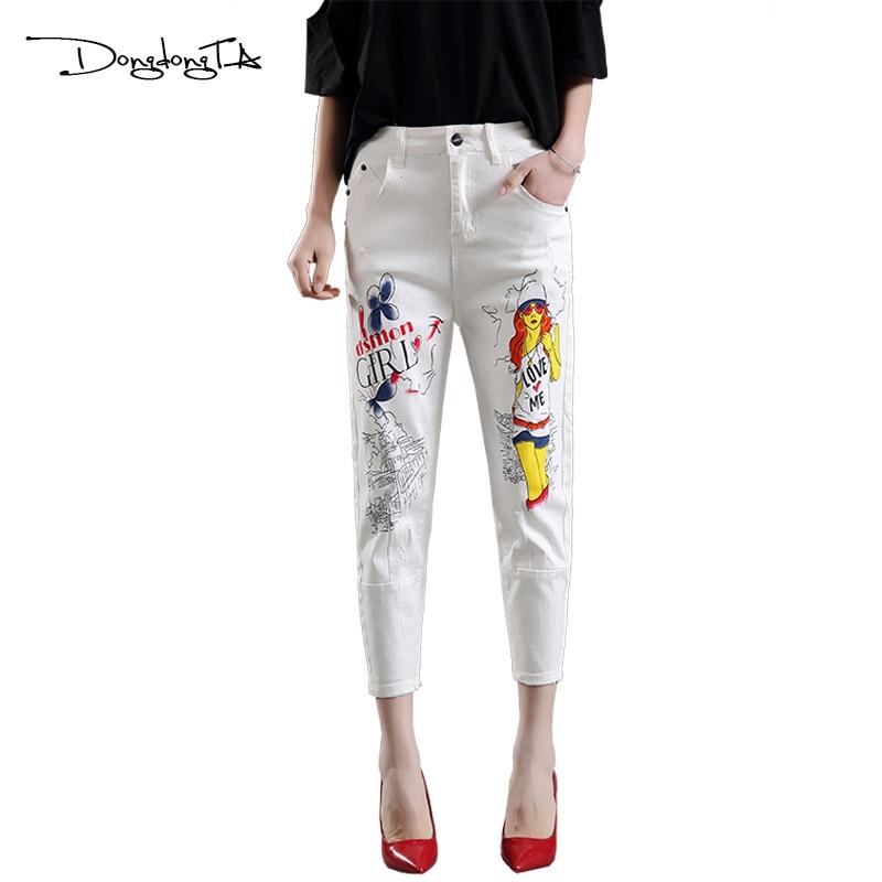 Dongdongta Dámské kalhoty Harem Volný typ Střední pas Kalhoty 2017 Léto Originální design Bavlněné Dívky Malované Džíny