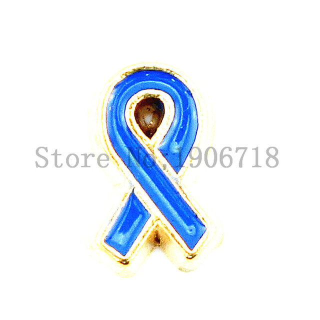 Hot Sell Blue Colon Cancer Awareness Ribbon Floating Charms For