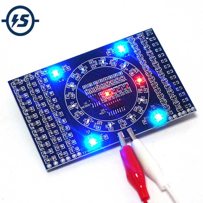 2pcs DIY Kit SMD Rotating Flashing LED Components Soldering Practice Board Skill Electronic Circuit Training Suite 90x60x1.6mm electronic component