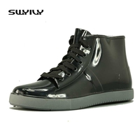 Femenina primavera lluvia Botas agua Zapatos moda impermeable sobre Zapatos negro Encaje-up