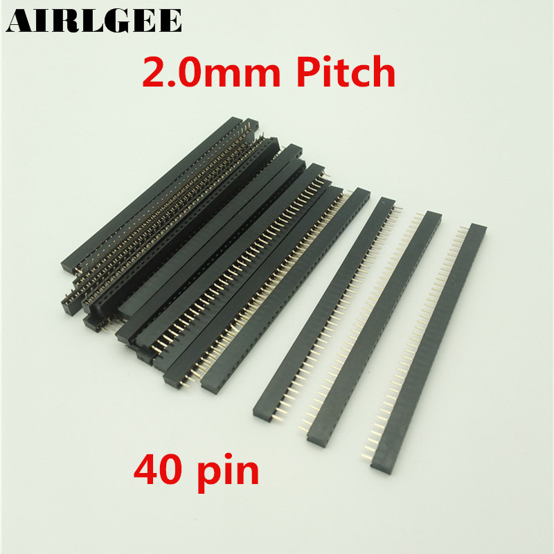 20 Pcs Female PCB Header 40 Pin 2mm Pitch Connector Black Free shipping 20pcs 2 54mm pitch 2 x 15 pin 30 pin female header idc socket connector black free shipping