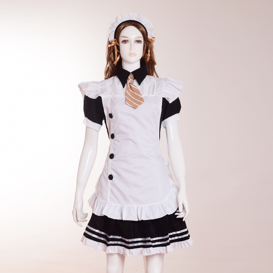 Cute Women Nico Yazawa Cosplay Costume Anime Love Live Maid Dress with Necktie
