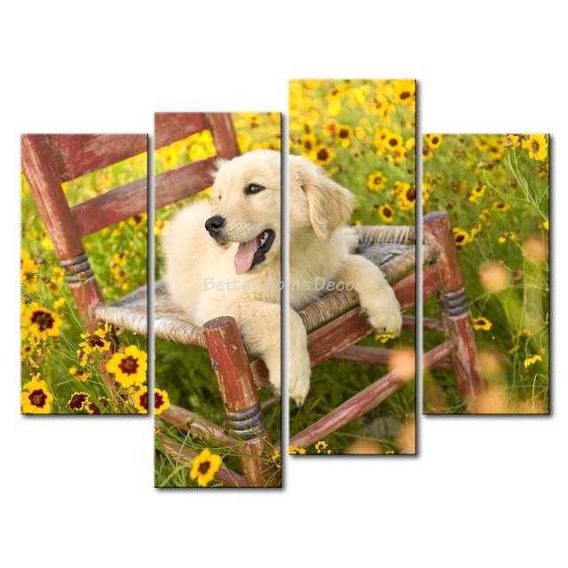3 Piece Wall Art Painting Golden Retriever Puppy On The Chair ...