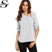 Sheinside Weiß Gestreiften Asymmetrische Zugeknöpft Neck High Low Hemdfrau Revers Langarm Arbeitskleidung Bluse