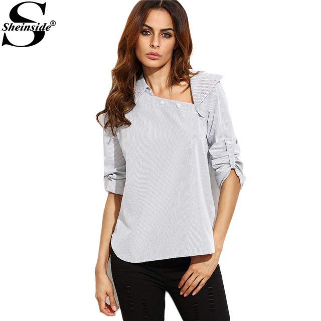 94073a9a86c1 Sheinside White Striped Asymmetric Buttoned Neck High Low Shirt Female  Lapel Long Sleeve Work Wear Blouse