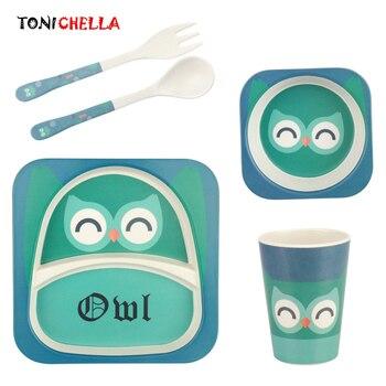 5 шт., детская посуда из бамбукового волокна, набор с мультяшными животными, Детская миска, посуда для кормления, ложка для кормления, вилка, т...