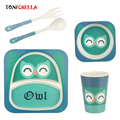 5 Stücke Baby Bambusfaser Geschirr Set Cartoon Tier Kinder Schüssel Gerichte Infant Feeding Löffel Gabel Platte Tasse Geschirr CL5329