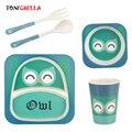 5 Stks Baby Bamboevezel Servies Set Cartoon Dier Kinderen Kom Gerechten Zuigelingenvoeding Lepel Vork Plaat Cup Servies CL5329