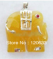yellow gem stone elephant women's Bridal wedding pendant Necklace+Chain Wholesale < necklaces for silver jewelry
