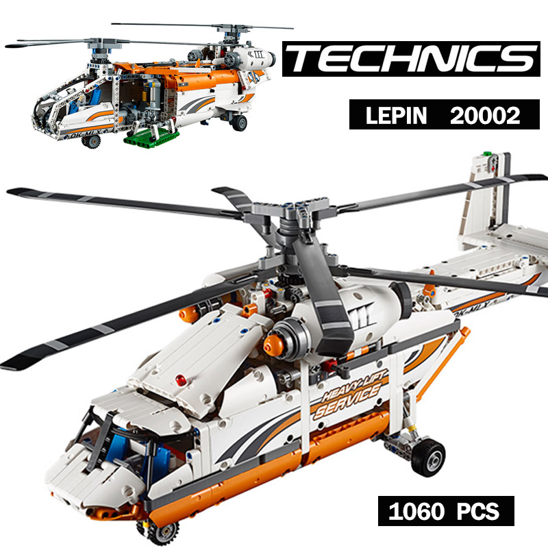 Lepin 20002 Technic series 1060pcs Double rotor transport helicopter Model Building blocks Bricks Children Gifts 42052