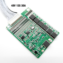 Small Size BMS L85*W65*H6.5mm, 13S 48V 30A lithium ion battery BMS, For 13S 48V E bike battery pack, With balance function.