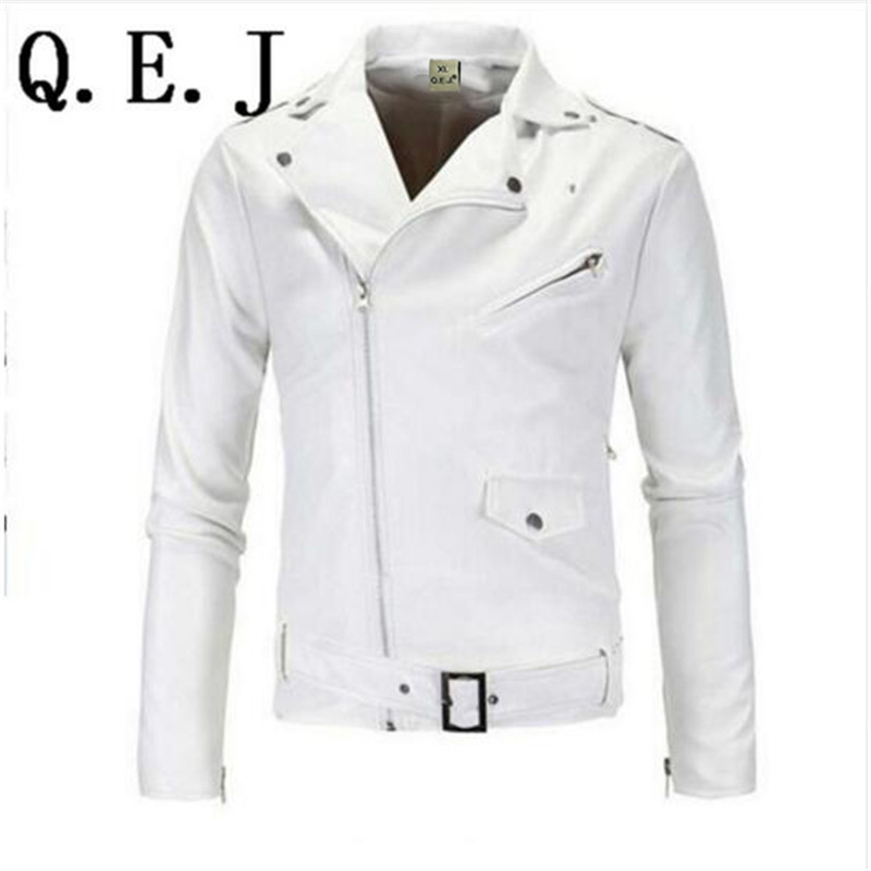 Q.E.J 2017 fashion stand collar motorcycle leather clothing men's leather jacket male outerwear White Leather & Suede M-XXL