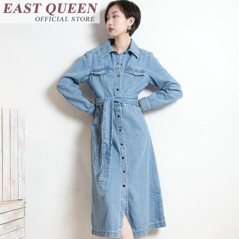 Bleu 2018 Jeans Mode Ff253 Manches Automne À Longues Printemps Robe Femmes Clair Bouton 2 Noir Denim Avant Robes De 1 xEwqz4EY