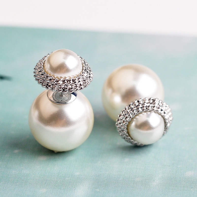 USTAR simulated pearl stud earrings for women Silver color double side female earrings Fashion Jewelry Brincos Bijoux(China)